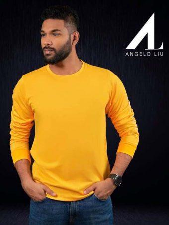Classy Angelo Liu - Long Sleeve Cotton T-Shirt yellow